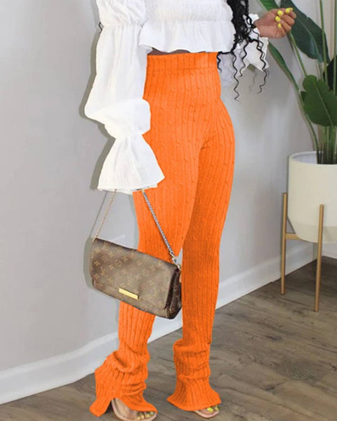Cable Knit Split Hem High Waist Stacked Pants