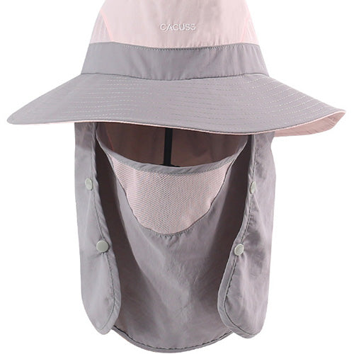 UV Protection Wide Brim Foldable Hat with Removable Mask