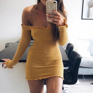 5 Colors Off Shoulder Ruffle Detail Skinny Fitted Knitted Dress