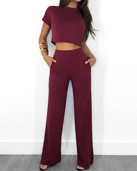 Round Neck Short Sleeve Wide Leg Cropped Top & Pants Set