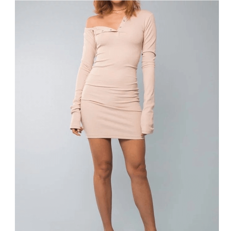5 Colors One Shoulder Button Detail Ribbed Skinny Knitted Dress