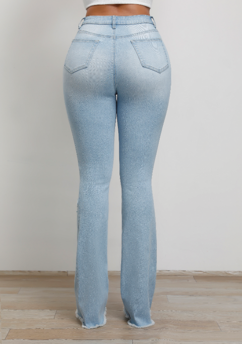 Vintage High Waist Stretch Ripped Flare Jeans gallery 7