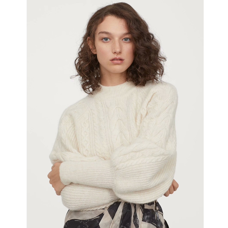 Solid Color High Neck Cable Knit Puff Sleeve Sweater