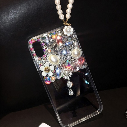 Half Transparent Rhinestone Phone Case for Samsung with Hand Strap gallery 3