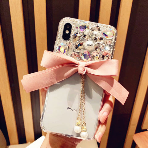 Bowknot Half Transparent & Rhinestone Phone Case for Samsung gallery 5