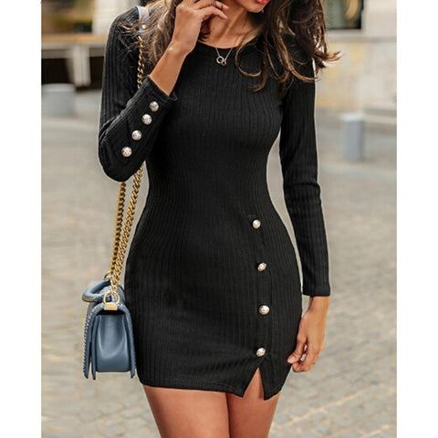 Solid Color Button Detail Round Neck Ribbed Mini Dress