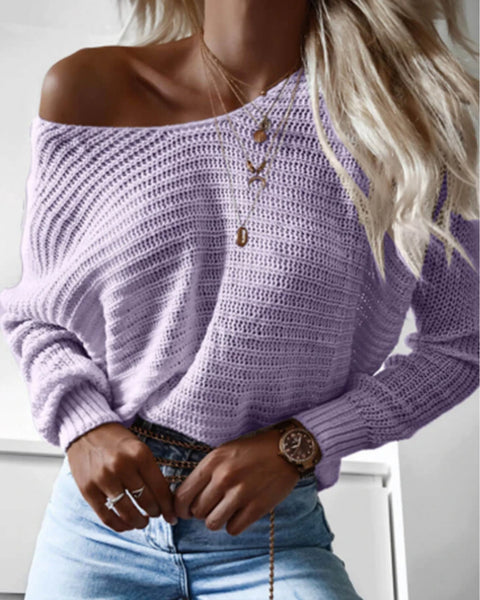 Solid Sheer Pointelle Knit Sweater
