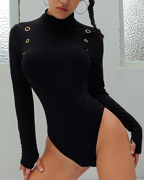 Solid Mock Neck Hollow Out Thumb Hole Bodysuit