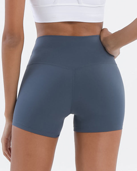 Solid High Waist Sports Shorts gallery 13