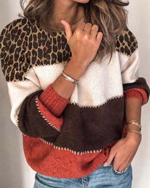 Cut And Sew Panel Leopard Sweater