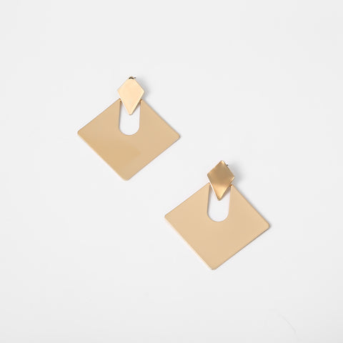 Gold Square Shape Cut Out Drop Earrings gallery 4