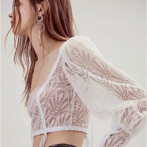 Lace Panel Square Collar Tie Self Cropped Shirt gallery 3