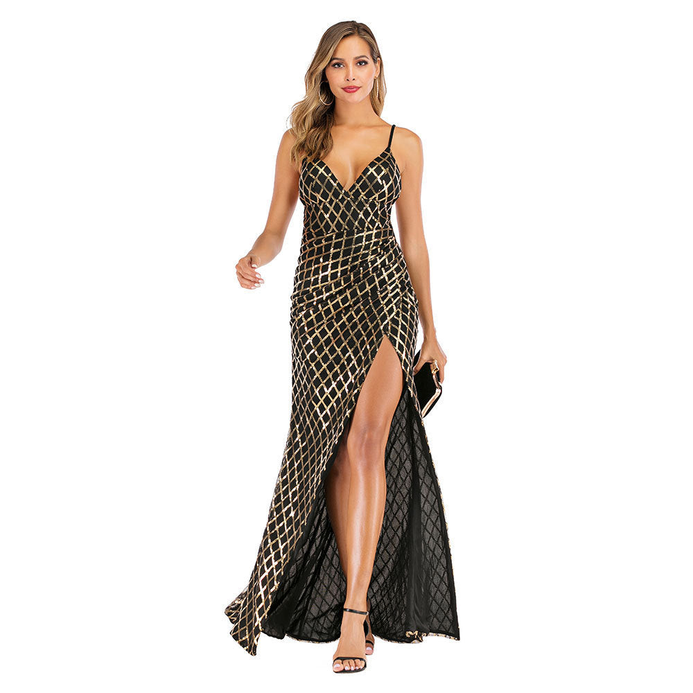 Sexy Deep V-Neck Slit Side Strappy Maxi Dress