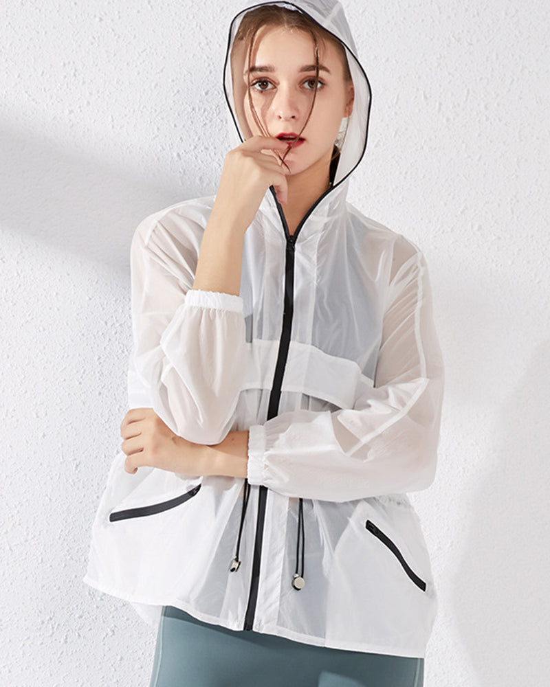 Dual Pocket Sheer Hooded Sports Jacket