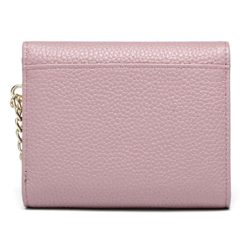 Korean Style Short Sized Cow Leather Wallet With Chain And Ring Elements gallery 3
