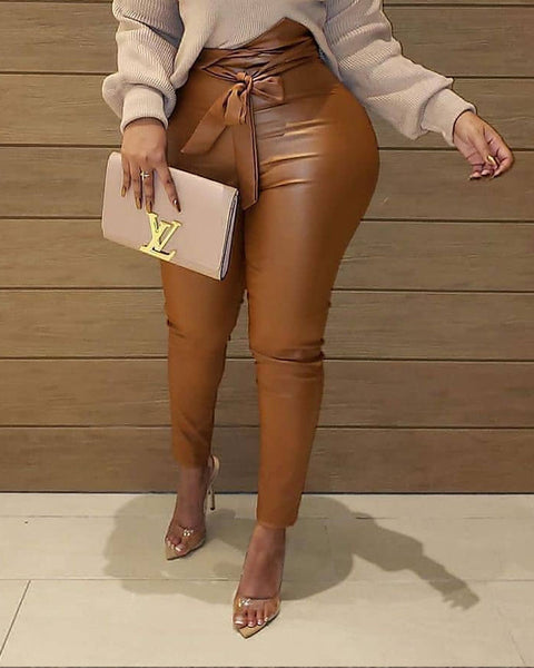 Bow Tie Solid Faux Leather Pants