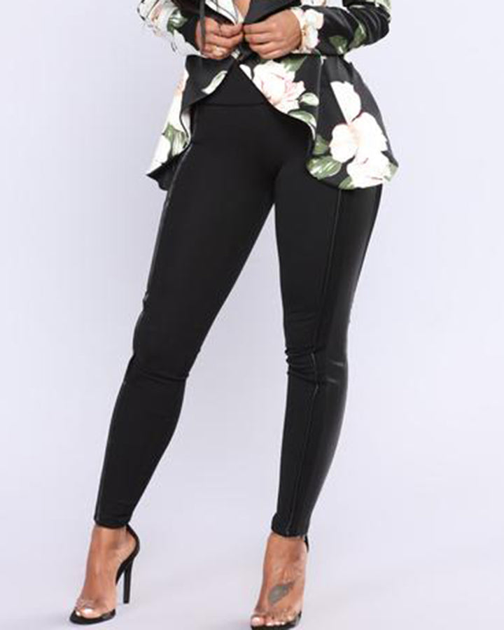 Mid Waist PU Leather Patched Skinny Pants gallery 2