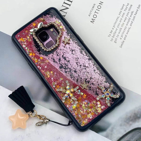 Luxury Moon & Star Liquid Bling Glitter Phone Case for Samsung with Hand Strap gallery 2