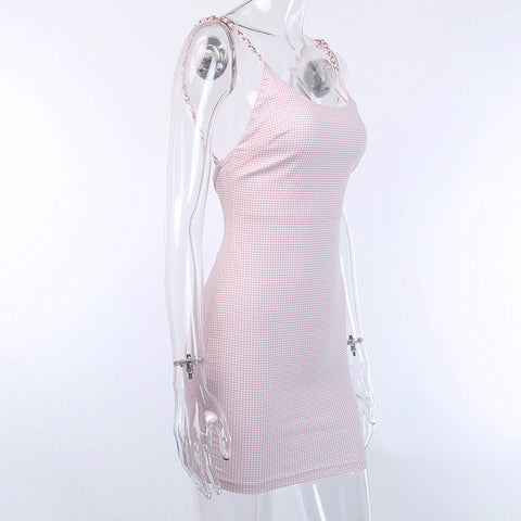 Pearl Twisted Strap Backless Pink Mini Dress gallery 10