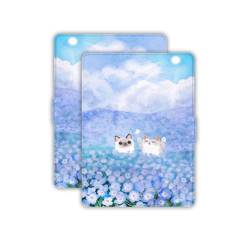 Romantic Purple Flowers & Lovely Cats Painted Protective Cover Case For Amazon Kindle