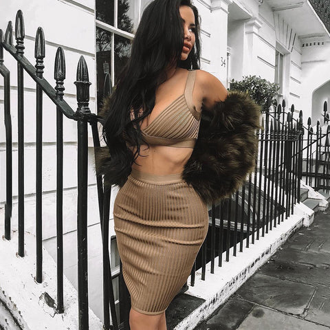 Stylish Strappy Cross Back Knitted Bodycon Camisole & Skirt Set