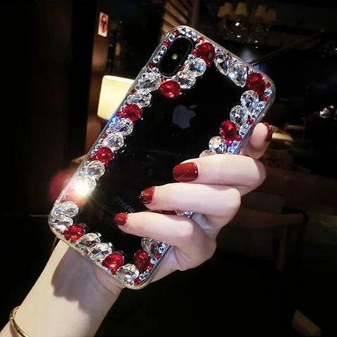 Glittering Rhinestone Side Clear Transparent Phone Case for Samsung gallery 4