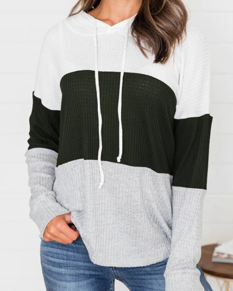 Ribbed Knit Hooded Drawstring Contrast Color Long Sleeve Hoodies