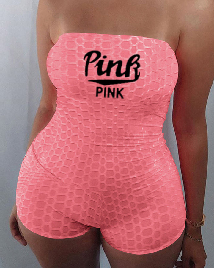Letter Print Textured Strapless Sports Romper gallery 5