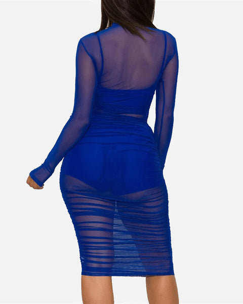 Sexy Mesh Sheer Ruched Lined Camisole & Shorts Bodycon Dress gallery 15