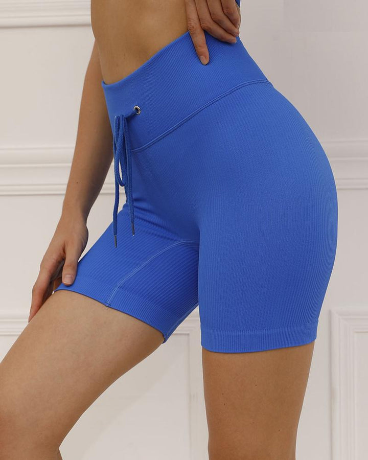 Solid High Waist Drawstring Front Sports Shorts gallery 11