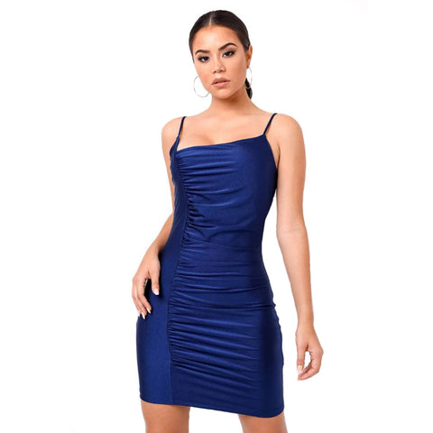 Solid Color Strappy Ruched Asymmetric Slinky Dress