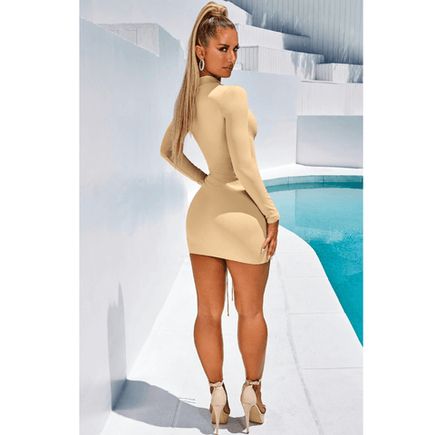High Neck Ruched Drawstring Front Mini Dress gallery 9