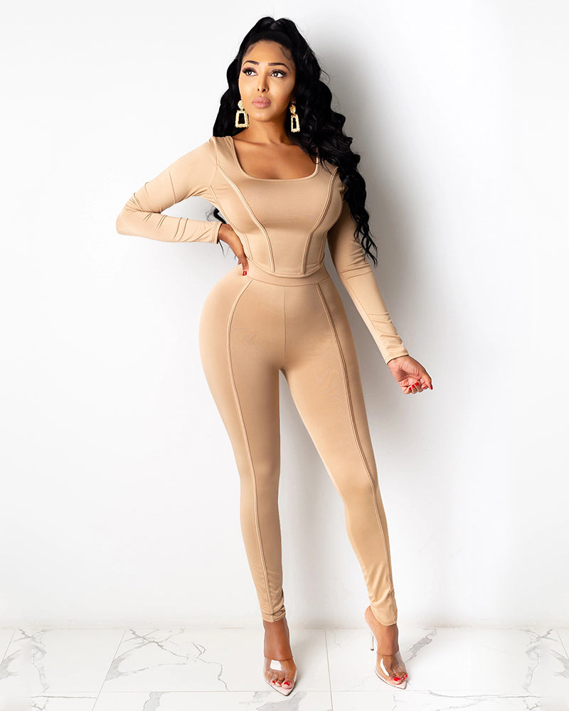 Solid Square Neck Curved Hem Top & Pant Set