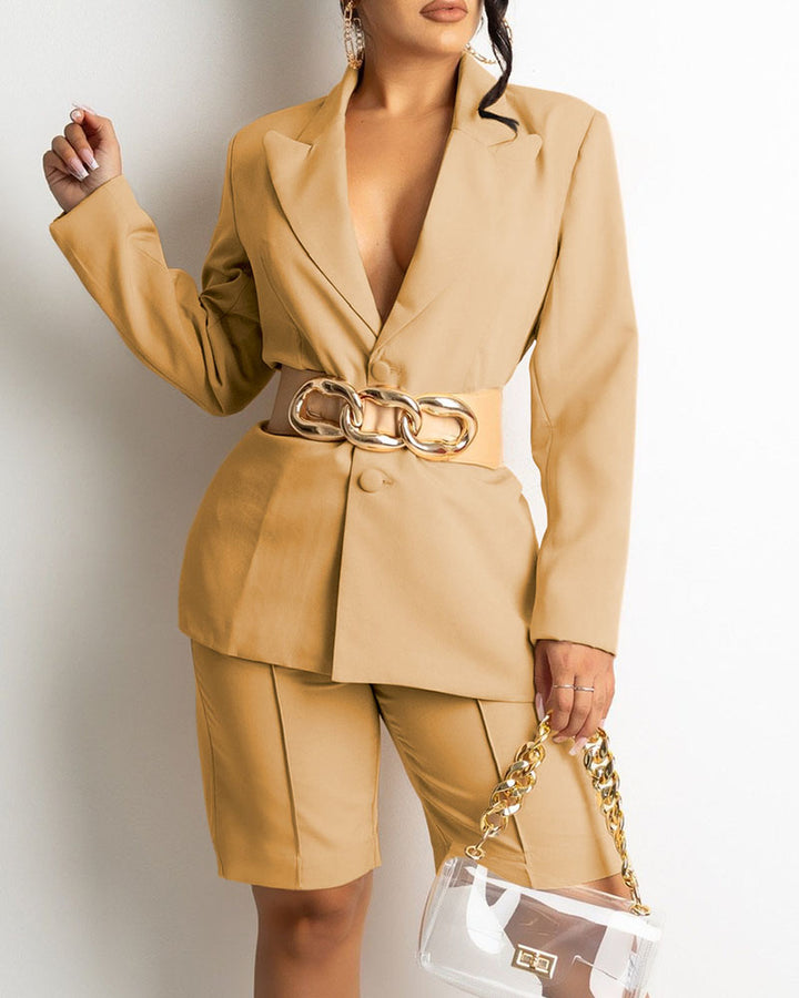 Solid Button Front Blazer & Shorts Set Without Belt gallery 4