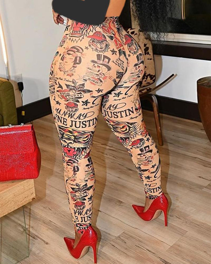 Letter & Graphic Print Skinny High Waist Pants gallery 2
