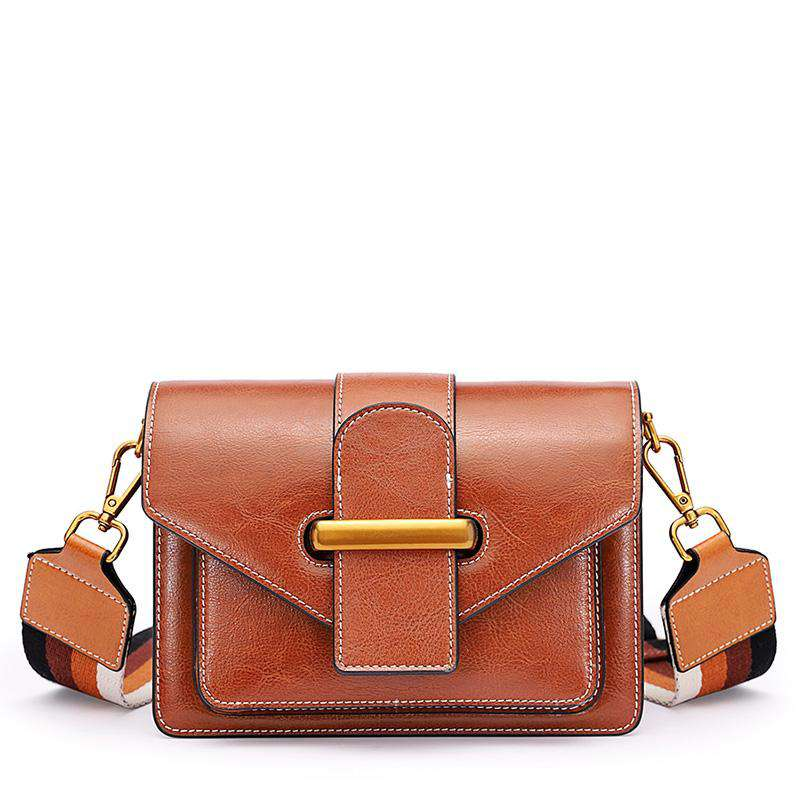 Leather Accordion Crossbody Bag with Colorblock Wide Strap - Brown