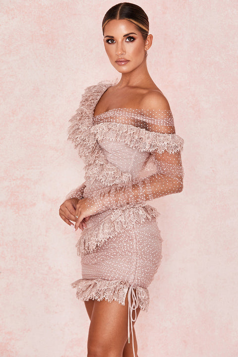 One Shoulder Polka Dot Lace Detail Mesh Ruched Dress gallery 9