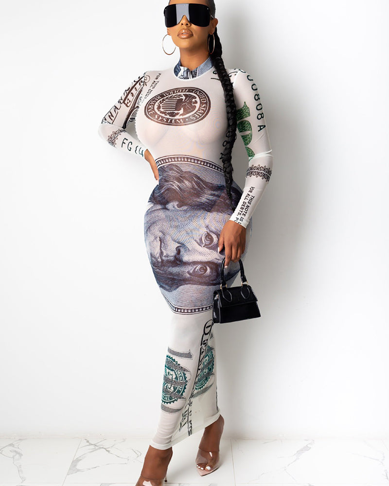 Dollars Print Round Neck Long Sleeve Maxi Dress