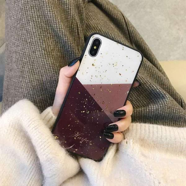 Creative Color Matching With Gold Foil iPhone Case