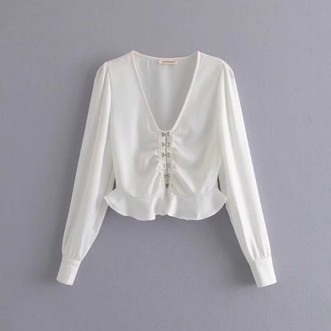 V-neck Long Sleeves Button Down Peplum Style Shirt gallery 5