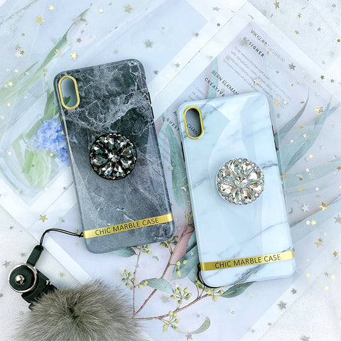 Retro Marble Pattern iPhone Case With Fur Ball And Phone Holder