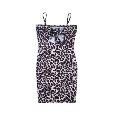 Strap-Wrapped Chest-Wrapped Hip-Wrapped Leopard-Print Dress