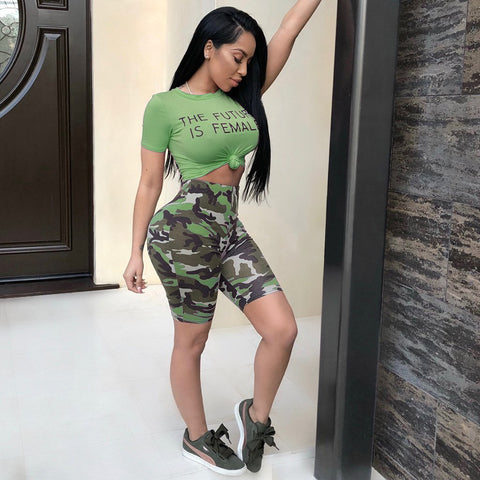 Camo Letter Print Knot Front Top & Short Set gallery 4