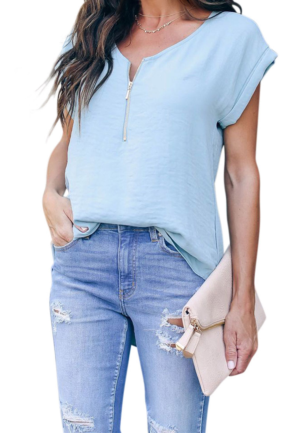Sky Blue Zip To It Blouse