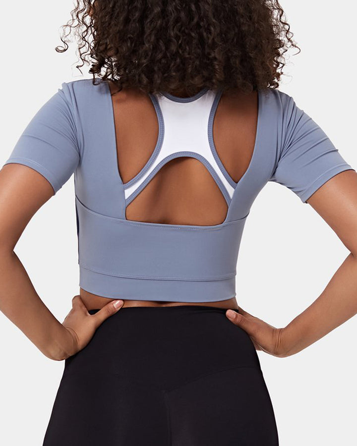 Colorblock Cut Out Bodycon Crop Sports Top gallery 1