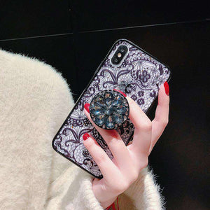Literary Floral Cloth Made Phone Case for Apple iPhone with Phone Holder