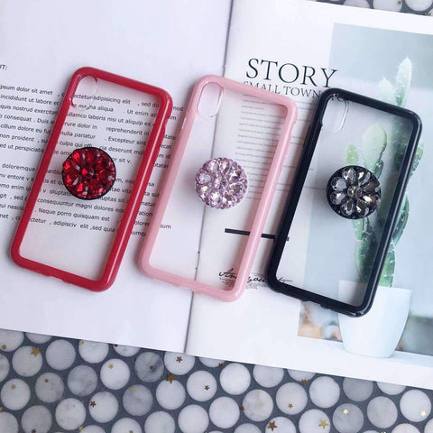 Contracted Transparent iPhone Case with Phone Holder