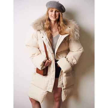Cream Oversized Raccon Fur Large Pockets Mid-Long Puffer Jacket