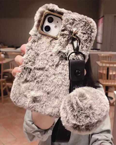 Chic Fluffy Solid iPhone Case with Wrist Strap and Pom-pom