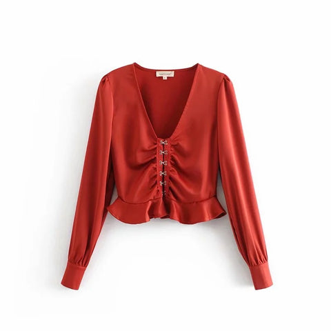 V-neck Long Sleeves Button Down Peplum Style Shirt gallery 3